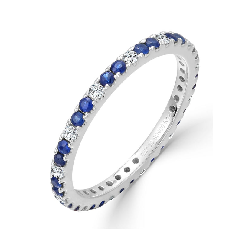 Sabrina Designs 18K White Gold Diamond and Blue Sapphire Eternity Ring