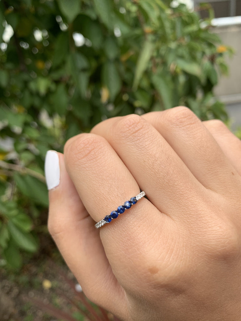 18K GOLD SAPPHIRE & DIAMOND STACKABLE BAND