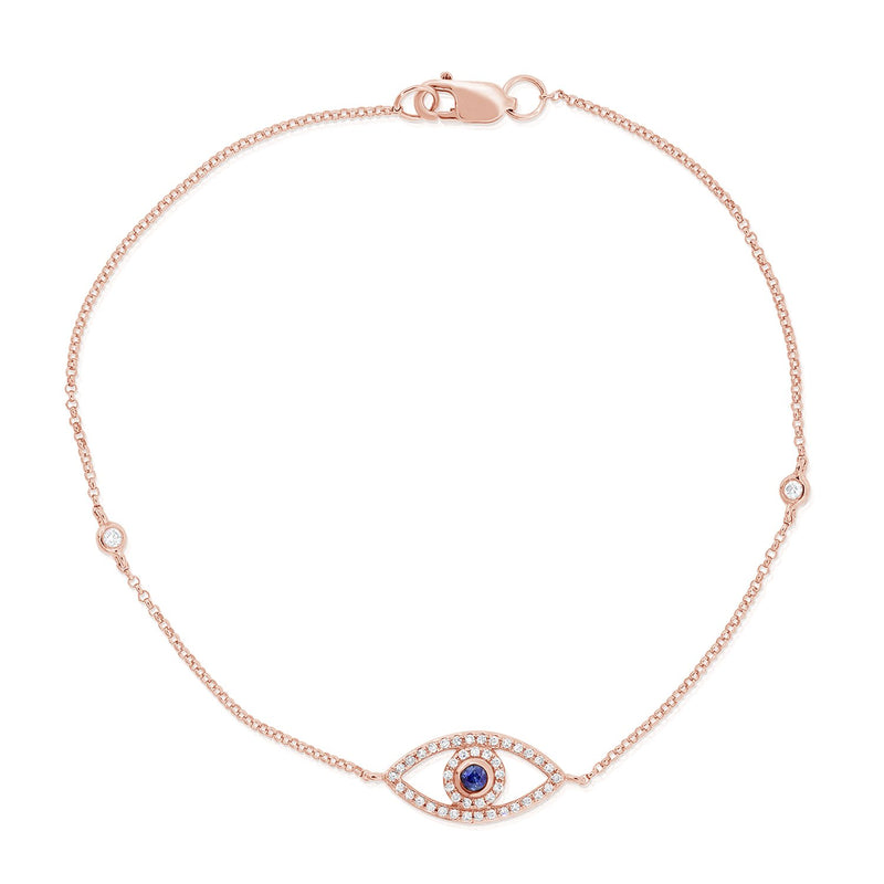 Sabrina Designs 14k Rose Gold Diamond & Sapphire Evil Eye Bracelet