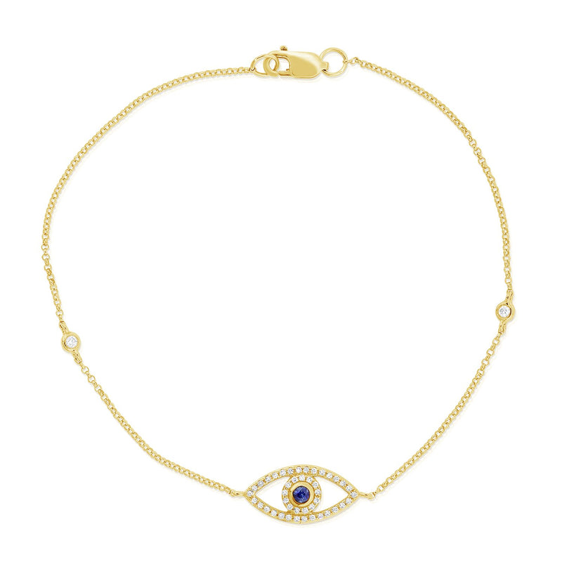Sabrina Designs 14k Yellow Gold Diamond & Sapphire Evil Eye Bracelet