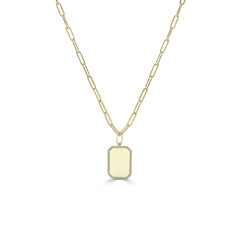 14K Gold Thin Link Chain with Diamond Tag Charm Necklace
