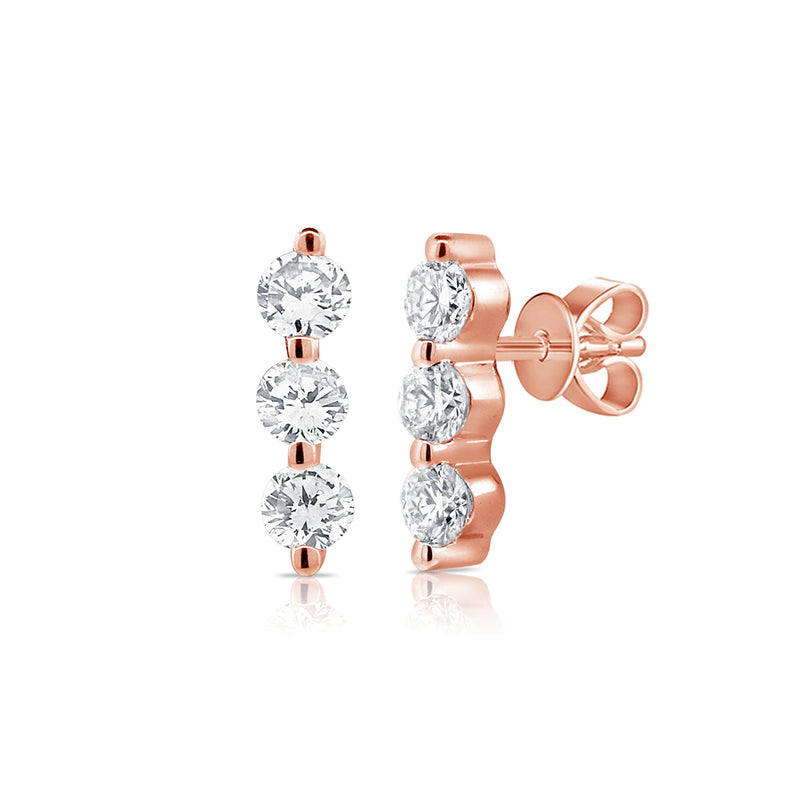 14K Gold & Diamond Single Prong Set Stud Earrings
