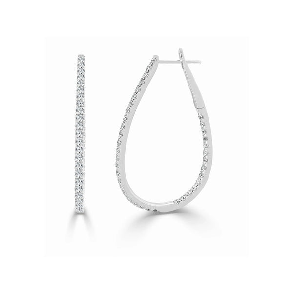 Pear Shape Inside/Out Diamond Hoop Earrings