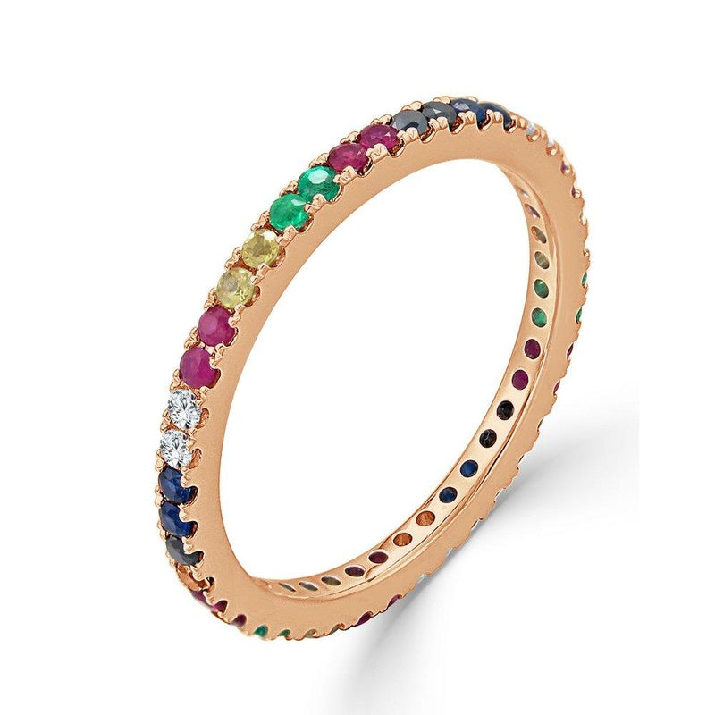 Rainbow Sapphire, Ruby, Emerald, & Diamond Eternity Band