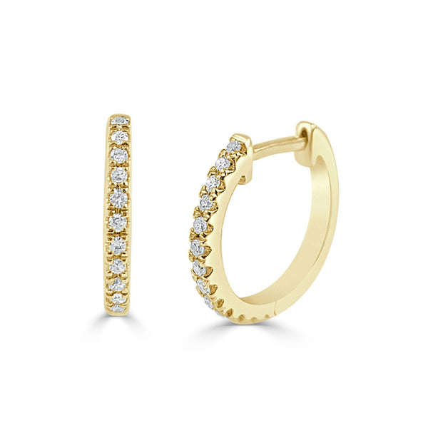 14K Gold Diamond Huggie Earrings