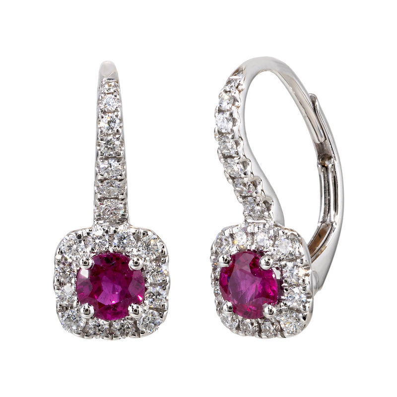 Gold and Ruby Diamond Hoop Top Earring