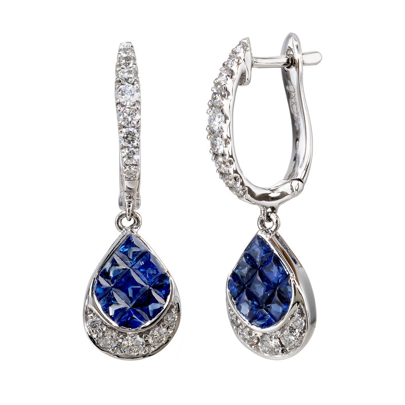 Sapphire and Diamond Pear Shaped Drop Earring