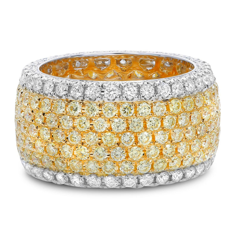 7 Row Pave Yellow & White Diamond Band