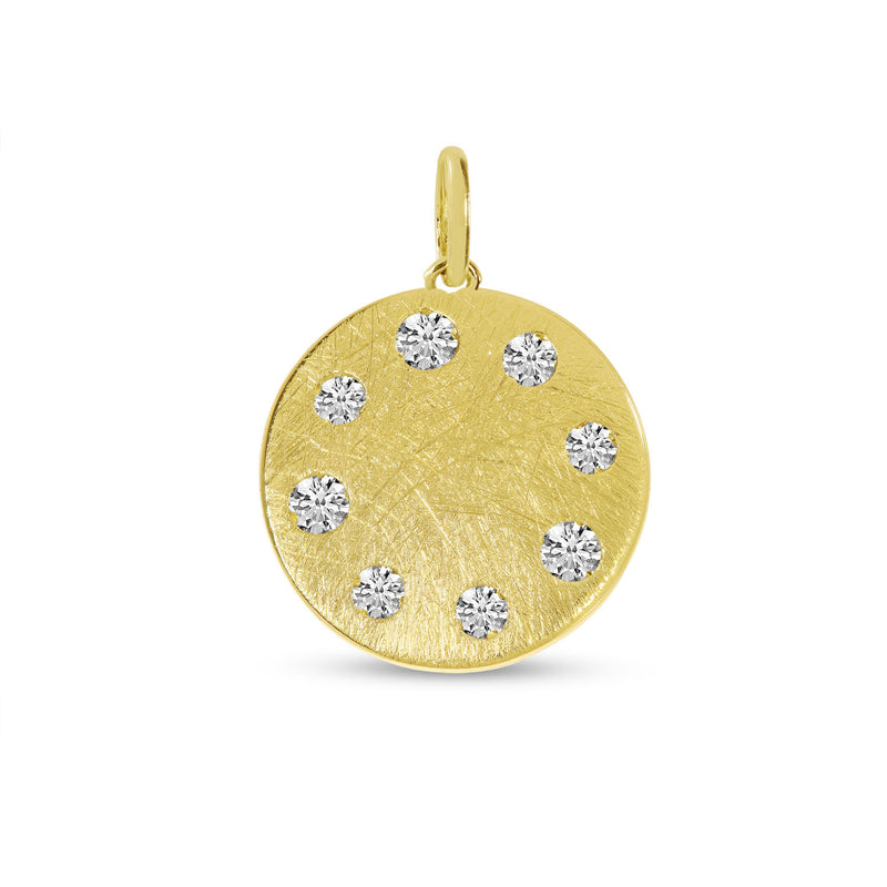 Yellow Gold Round Disc with Diamonds