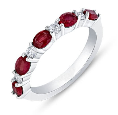 White Gold Diamond & Oval Ruby Stacking Band