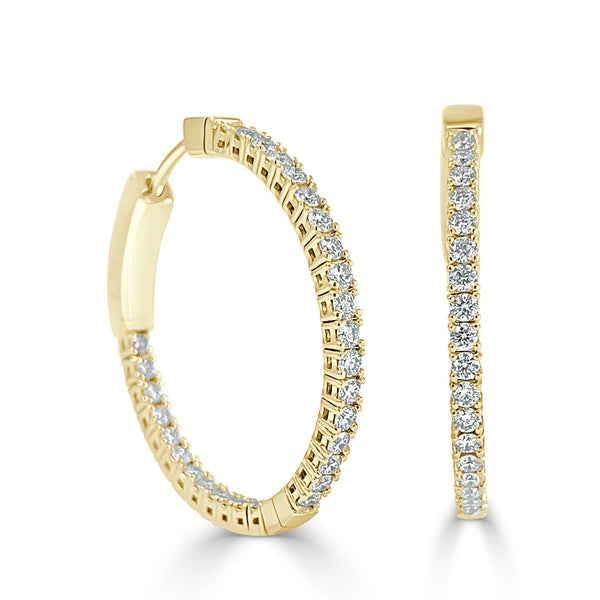 "Inside/Out 1"" Flexible Diamond Hoop Earrings"