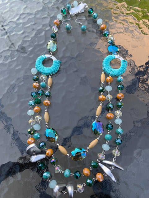 3 layer turquoise crystal fashion jewellery necklace and earring set