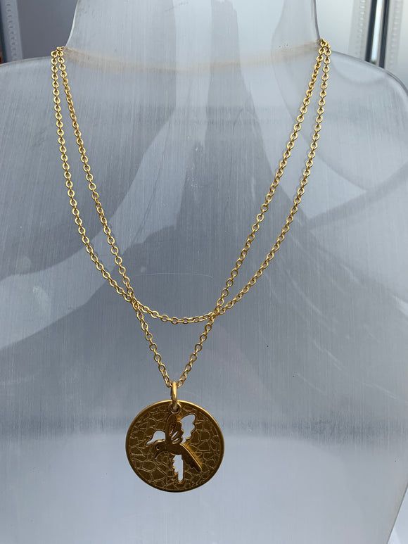Circular charm with bird cut out on a double chain