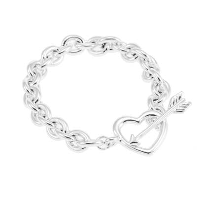 Merx heart silver chain  bracelet shiny silver toggle closure 19cm