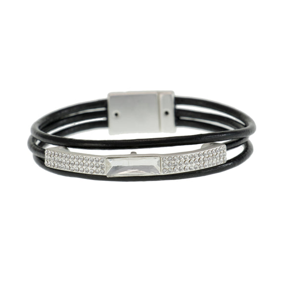 Merx magnetic  closure  fashion jewellery bracelet with crystal stones and black cord