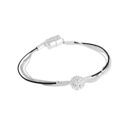 Merx fashion bracelet Silver, black and crystal