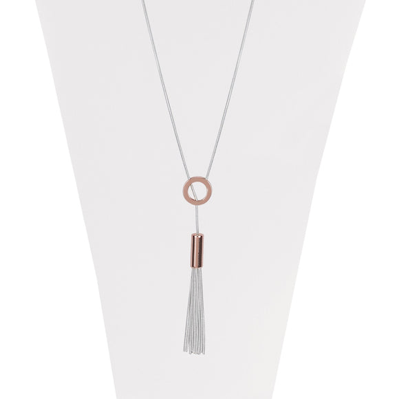 Rose Gold long adjustable necklace with metallic ring and multi chains  tassel