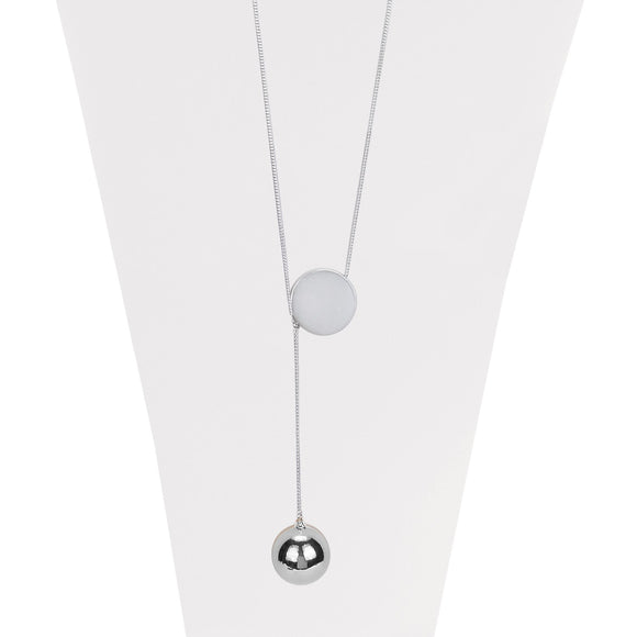 Silver delicate slip on chain necklace with metallic sphere pendant
