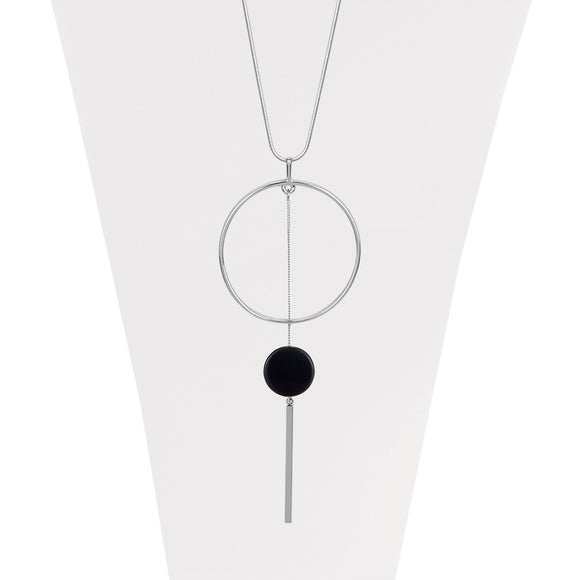 Silver adjustable necklace with thin ring, stick and black dot pendants