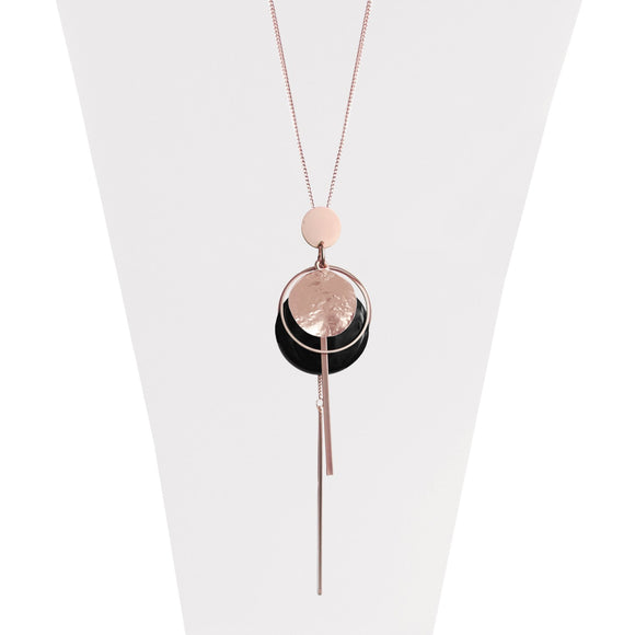 Rose gold adjustable necklace with multi charms in a matte textured shiny finish