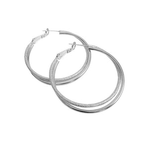 Silver textured and shiny medium size hoops