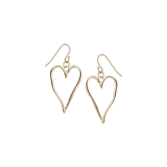 Gold large wavy metallic heart drop  earrings