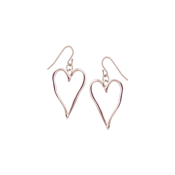 Rose gold large wavy metallic drop heart earrings