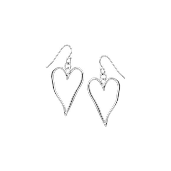 Silver  large wavy metallic drop heart earrings