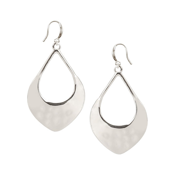 Silver hammered tear drop earrings on hooks