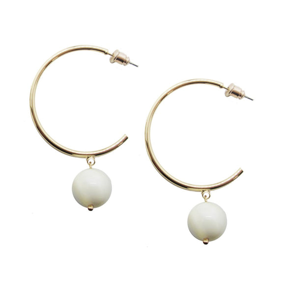 White and gold hoop earrings with bead drops