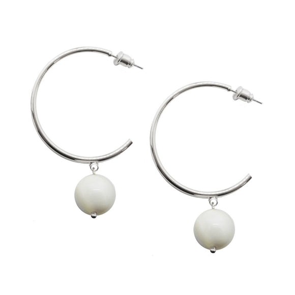 white and silver hoop earrings with bead drops