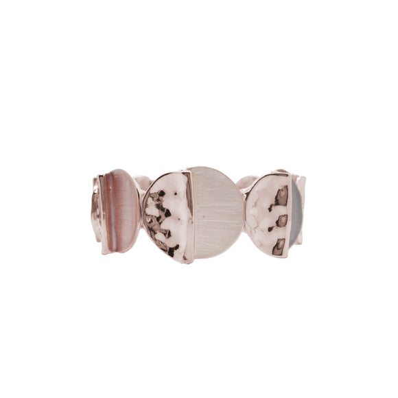 Pink taupe and Rose Gold shiny metallic half painted round discs stretch bracelet