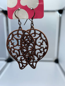 Bronze plated, ivy filled filigree earrings