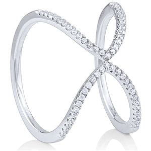.925 Sterling Silver Fashion Ring with CZ. Rhodium Plated . Nickel Free  Across top 13.5mm  Weight. 2.8 grams  Size 8