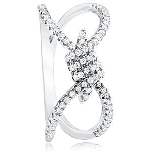 .925 Sterling Silver Bow Fashion Ring with CZ.  Rhodium plated. Nickel free  Across top 11mm  Weight  2.5grams  Size 8