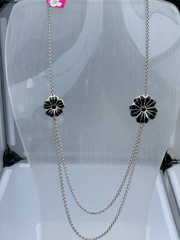 Black and Silver flowers with black stone on a chain