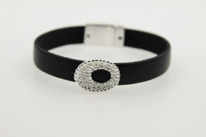 faux leather strap with cz fashion bracelet