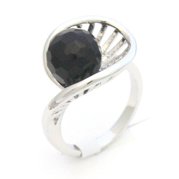 CZ Fashion Ring with black Cubic Zirconia.  Brass and Rhodium plated
