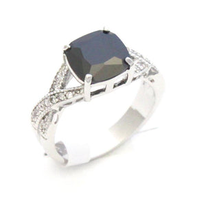 CZ Fashion Ring with black and clear cubic zirconia.  Brass and Rhodium plated  Size 7