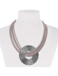 leather and metal fashion jewellery necklace