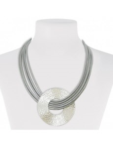 metal and leather fashion jewellery necklace