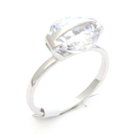 Fashion Ring with clear cubic zirconia.  Brass and Rhodium plated.  Size 7
