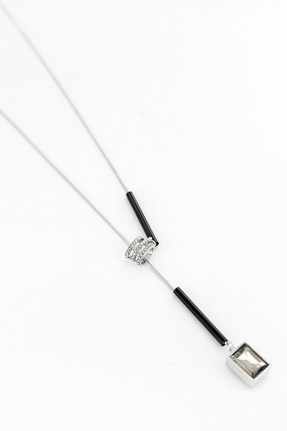 fashion jewellery necklace lariat style with crystal slider detail
