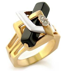 Brass ring with two tone plating with a semi-precious jet coloured onyx stone.  Centre stone size is 20.5mm and a product weight of 7.90g.