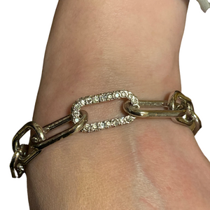 Merx Fashion Bracelet Shiny Rhodium Chain Link and CZ