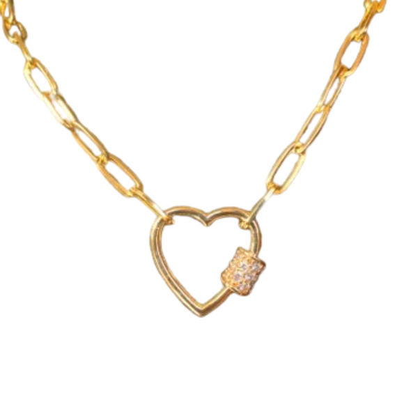 Merx Fashion Necklace with shiny gold heart and cz stones 40 cm plus 7 cm extension