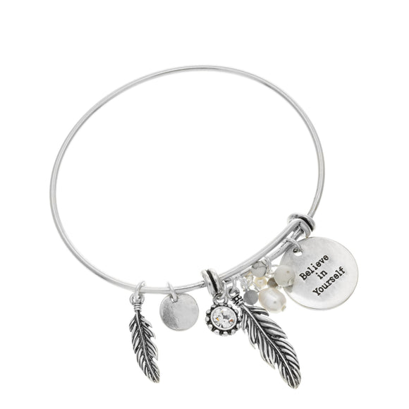Merx fashion  jewellery bracelet with crystal stone and a believe in yourself inspirational saying