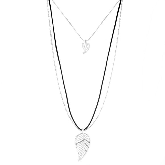 Merx fashion jewellery necklace small leaf and larger leaf with crystal accent on matt silver chain and black cord