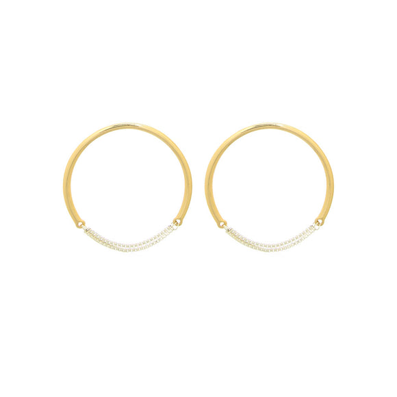 Merx fashion jewellery earring shiny silver chain and Gold Circle