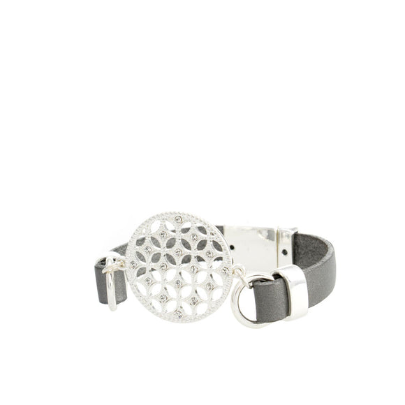 Merx fashion bracelet shiny silver dark grey and crystal